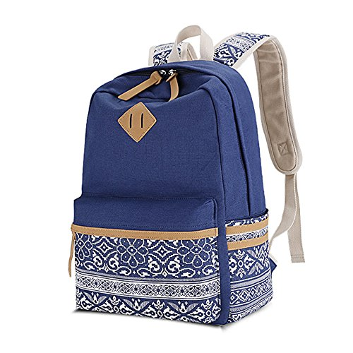 Amazon.com: Winerbag Brand Canvas Printing Large Capacity Laptop Backpack Women School Bags For Teenage Girls National Rucksack Female Black: Sports & ...