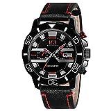 Menton Ezil Classic Sport Analog Watch Genuine Leather Quartz 3AM Waterproof Auto Calendar Watches for Men