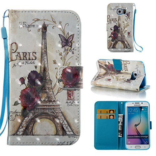 Galaxy S6 Edge Case,PU Leather Shock Proof Wallet Case Lightweight Kickstand Flip Folio Book Case Magnetic Card Holder with Strap Birthday Xmas Halloween for Samsung Galaxy S6 Edge-Tower