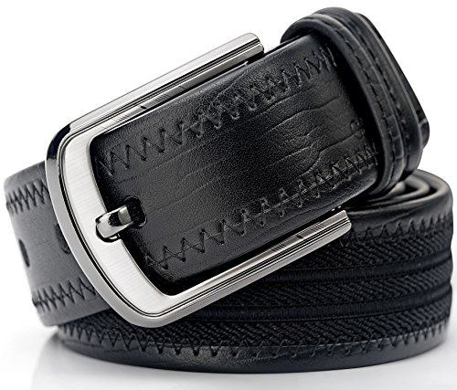 Men's Dress Belt, Casual Jeans Leather & Canvas Belt with Gift Box, Cut to Fit