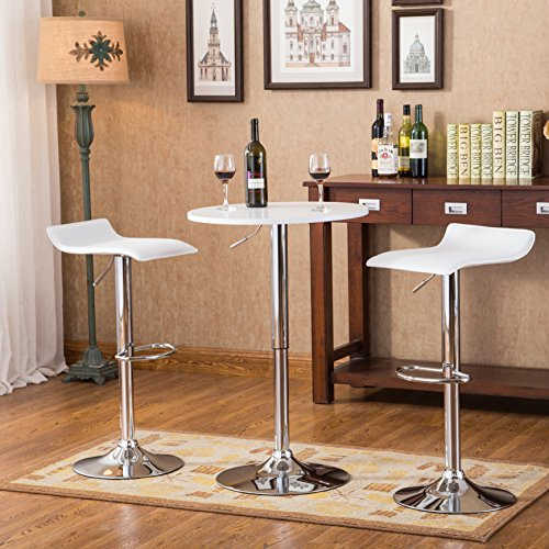 - Roundhill Furniture Baxton White Adjustable Height Wood & Chrome Metal bar Table & 2 Chrome Air Lift Adjustable Swivel Stools Set