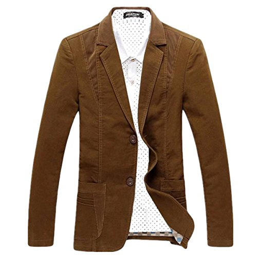 Pishon Men's Casual Blazer Cotton Lightweight Notched Lapel Two Button Blazer Jacket, Coffee, Tag size XXXXL=US size L (Blazer Coat)