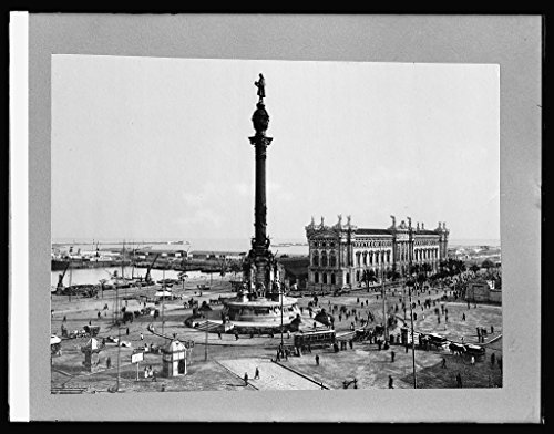 Vintography 8 x 10 Reprinted Old Photo Spain. Plaza & Peace Harbor Barcelona 1918 National Photo Co 51a by Vintography