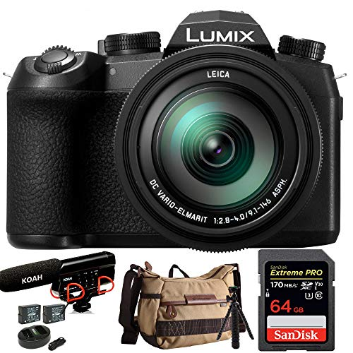 Panasonic LUMIX FZ1000 II 4K 16x Long Zoom Digital Camera Plus Vanguard Havana 21 Bag, 64GB Extreme PRO 170 MB/s, Pro Shotgun Video Mic, 2 Batteries, and Spider -