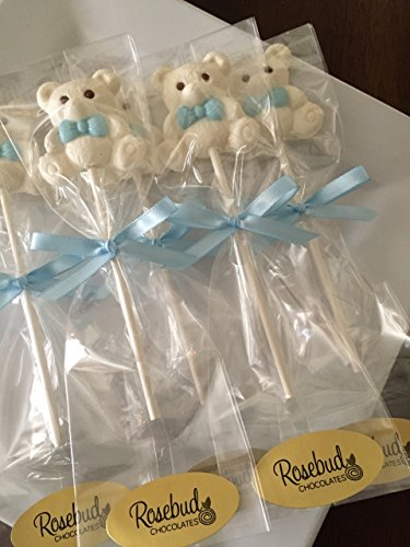 12 TEDDY BEAR with BLUE BOW TIE Chocolate Lollipops Candy Party FAVORS (One Dozen) Baby
