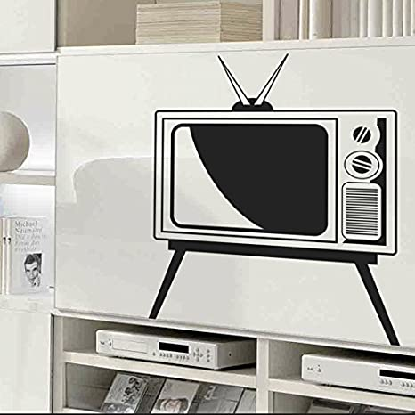 IDEAVINILO Vinilo Decorativo Televisor Vintage. Color Negro. Medidas: 65x75cm: Amazon.es: Hogar