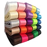 "DUOQU 25 Colors 50 Yards ( 25X2yd ) 1/4"" Single Face Solid Satin Ribbon Multicolour Valued Packing"