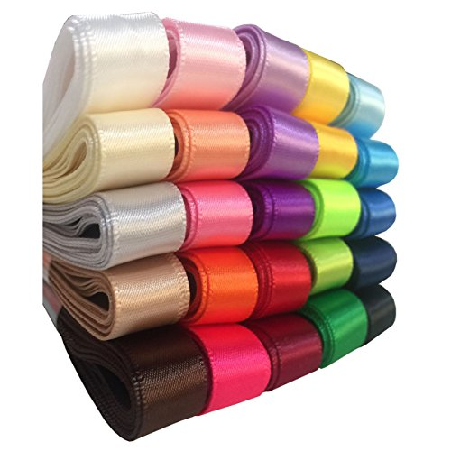 Best Deals! Duoqu 1/2 Single Face Satin Ribbon 50 Yards (25x2yd) 25 Colors Assorted