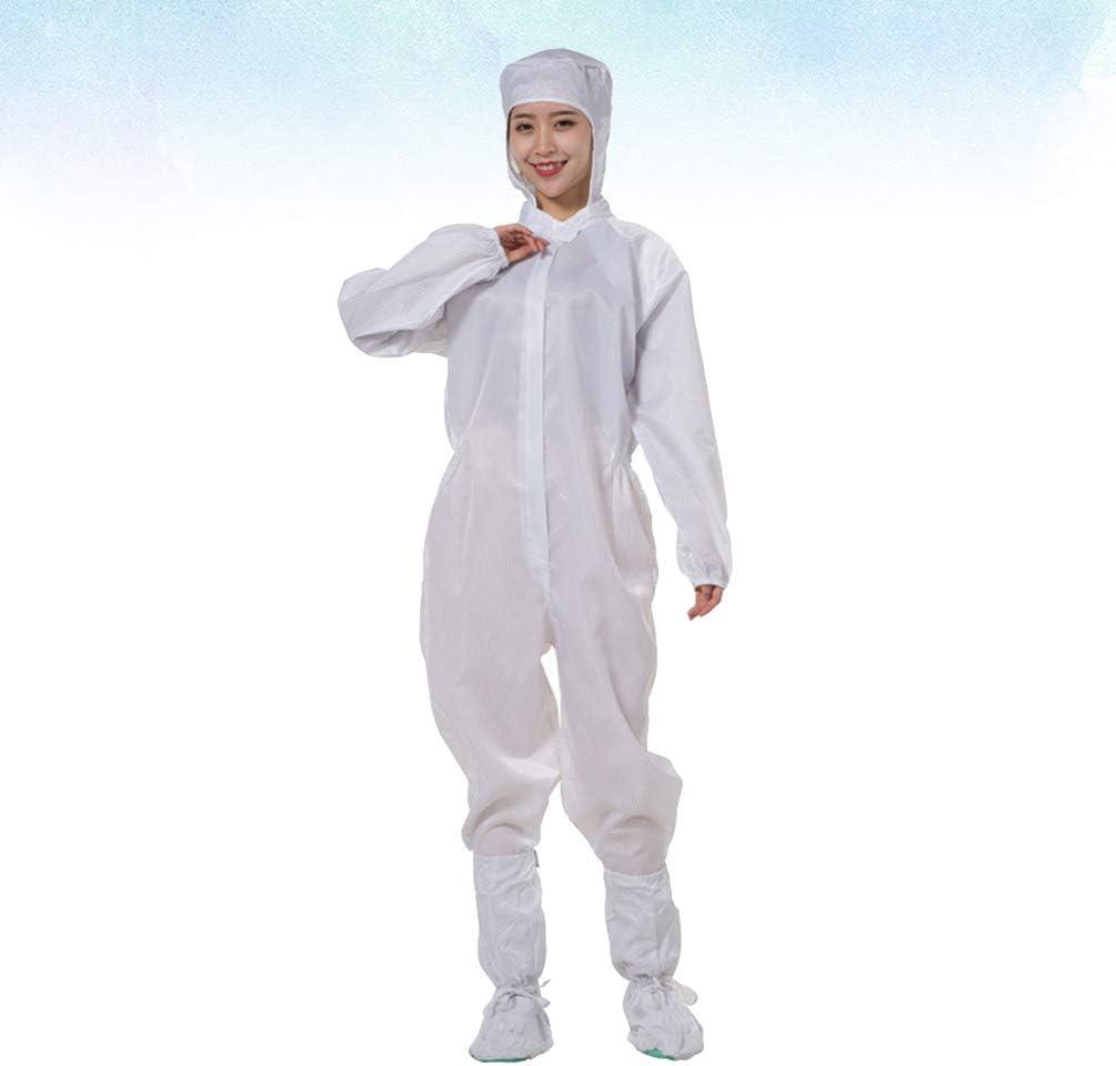 TENDYCOCO Tuta Medica Indumenti Protettivi Camici Isolanti Tuta Generale Isolante per Industria Chirurgica Laboratorio Pronto Soccorso Laboratorio Senza Scarpe Bianco L