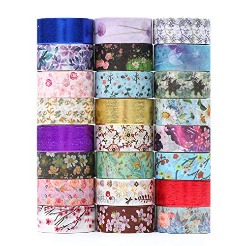Floral Washi Tape 24 Rolls Set,Decorative Masking Tape Japanese Paper Tapes Fabric Tape for Arts and Crafts, DIY Projects, Scrapbooks, Calendar, Bible Journaling and Gift Wrapping -
