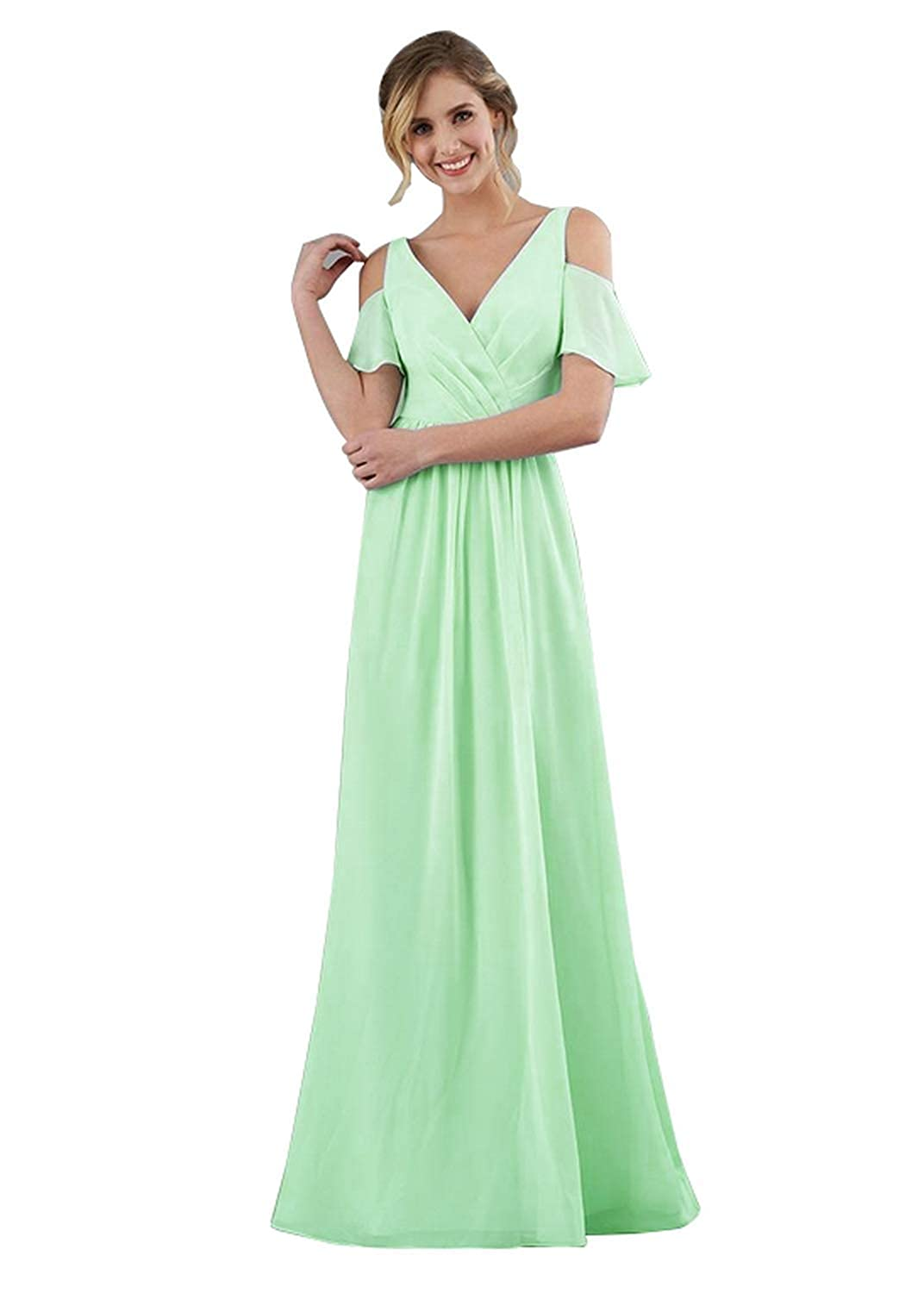 KKarine Womens A-Line Ruched Chiffon Flutter Sleeves Double V Neck Bridesmaid Dresses Long Formal Evening Gown