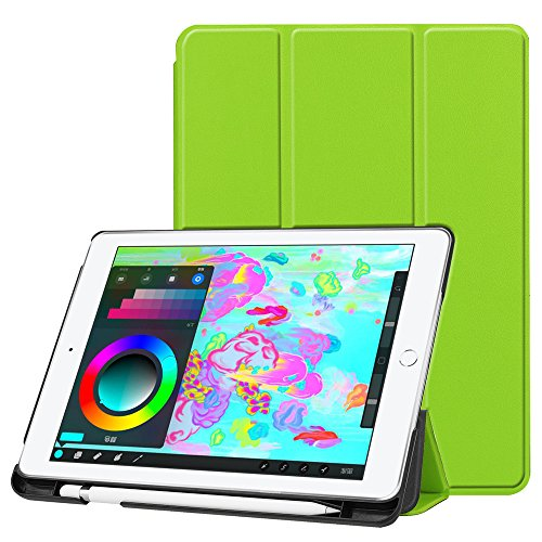 New iPad 9.7 Inch Case 2018/2017 with Pencil Holder,Ultra-slim Auto Wake/Sleep Trifold Stand PU Leather Protective Cover Case for Apple New iPad 9.7'' 2018/2017 Tablet (Green)
