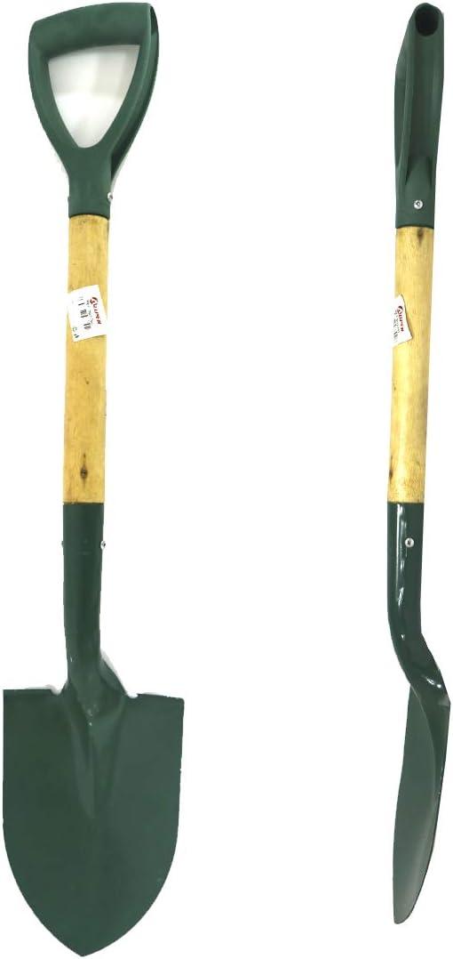 Material Resistente. 76 cm Allper Pala para jard/ín con Mango de Madera y Punta de Metal Verde