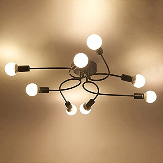 Industrial Deck Ceiling Light 8 Lamp Holder Wrought Iron Lamp
