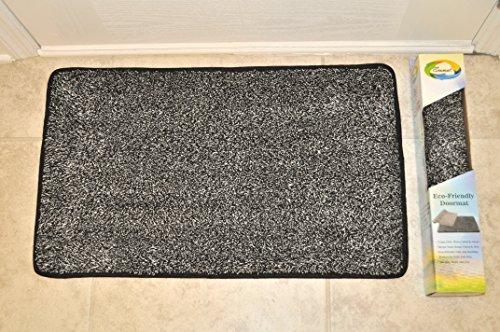 "Door Mat Premium Floor Mat Eco Friendly Rubber Backing Non Slip Mat Kitchen Mat Mud Mat Cotton + Microfiber aprox 18"" x 30"" Machine Washable by ECOMAT - Veteran Owned (Heavy Duty Grade White Vacuum)"