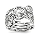 925 Sterling Silver Cubic Zirconia Cz 3 Band Ring Set Size 7.00 Fine Jewelry Gifts For Women For Her