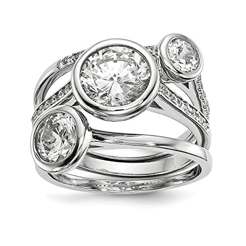 925 Sterling Silver Cubic Zirconia Cz 3 Band Ring Set Size 6.00 Fine Jewelry Gifts For Women For Her (Marque Diamond Ring)