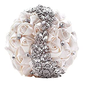 Pavian crystal s style wedding bouquets silk rose flower brooch pearl hold bouquet for birdal 110