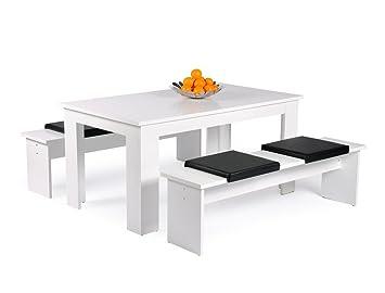 Tischgruppe Hamburg Esstisch 140x80 Cm 2x Bank 140x45x37 Cm Weiß 4x Kissen  Schwarz Esszimmer Küche Wohnzimmer