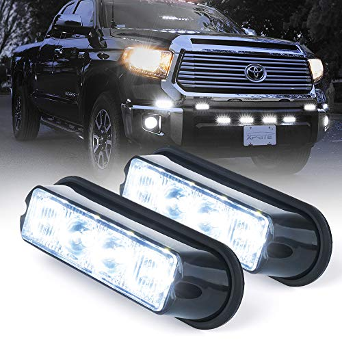 Xprite White 4 LED 4 Watt Emergency Vehicle Waterproof Surface Mount Deck Dash Grille Strobe Light Warning Police Light Head with Clear Lens - 2 Pack