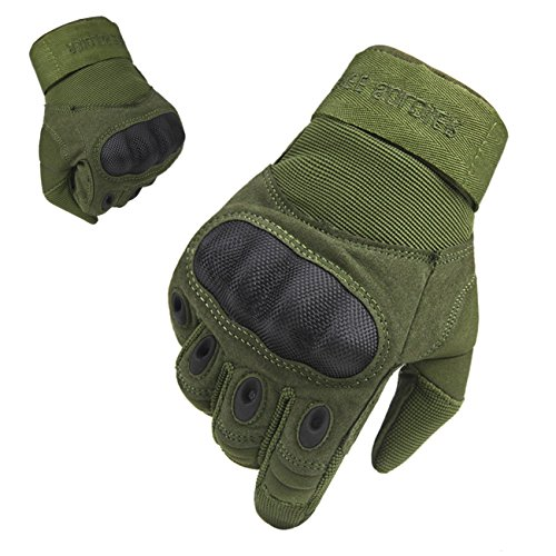 FREE SOLDIER Outdoor Men Military Hard Knuckle Full Finger Glove Tactical Armor Gloves (Green Fullfinger, Medium)