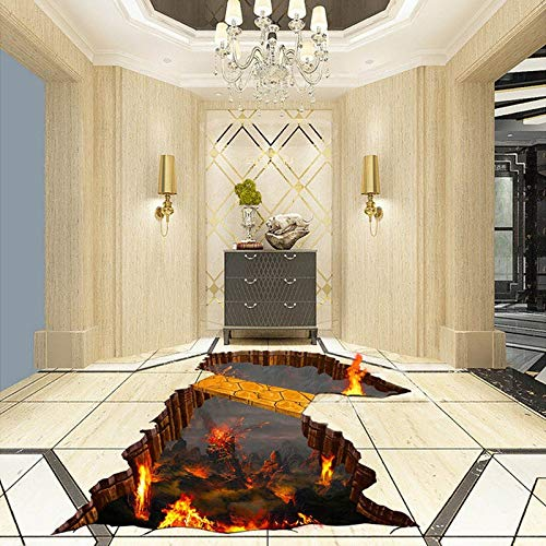 Custom Flooring Mural Wallpaper Lava Stone Magma 3D Stereoscopic Floor Sticker Painting PVC Self-Adhesive Waterproof Wallpaper,Custom 1 Square,Sykdybz