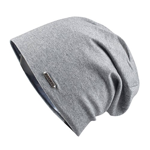 CACUSS Classical Teenager Baggy Skull Cap Thin Cotton Stretch Beanie Summer Sport Hat(Dark Grey) ()
