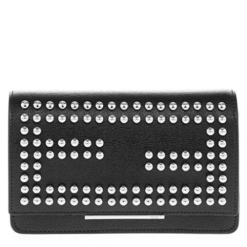 Fendi Women's Mini Silver Studded 'Double F' Logo Flap Bag with Chain Strap Black