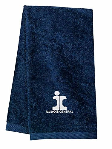 Illinois Central Split Rail Embroidered Hand Towel Navy [58]