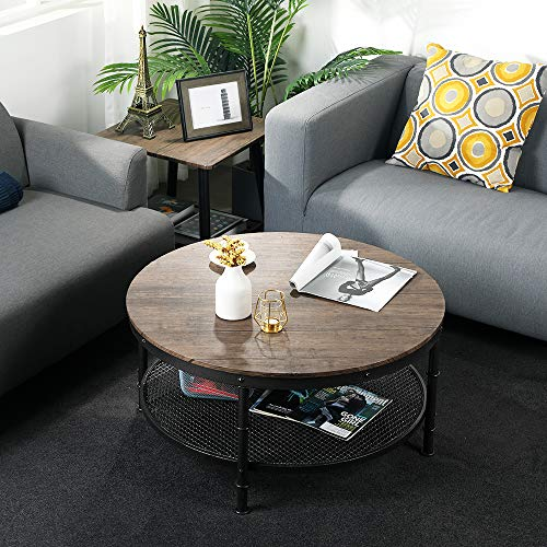 GreenForest - Coffee Table Round Industrial Design Metal Legs with Storage Open Shelf for Living Room, Rustic Walnut