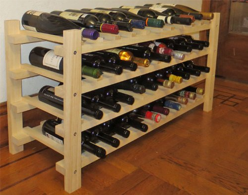 DisplayGifts Wine Rack Stackable Storage Stand, Solid Wood Display Shelves (40 Bottle Capacity) by DisplayGifts
