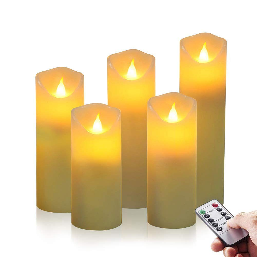 Flameless Candles with Remote Flickering Led Pillar Candles,Set of 5(D 2\