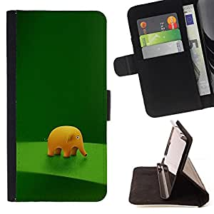 Funny Cute Elephant - Painting Art Smile Face Style Design PU Leather Flip Stand Case Cover FOR HTC One M7 @ The Smurfs