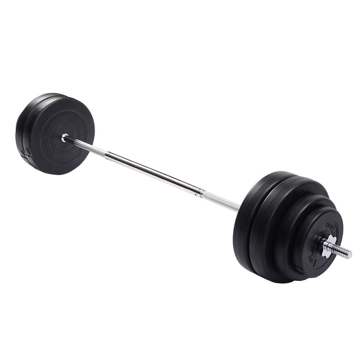 Goplus Barbell Dumbbell Weights Set 132 Lbs Lifting Exercise Full Body Workout for Gym, Home Adjustable Weight Bar