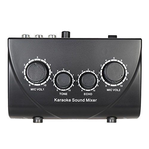 ammoon Karaoke Sound Mixer Dual Mic Inputs With Cable