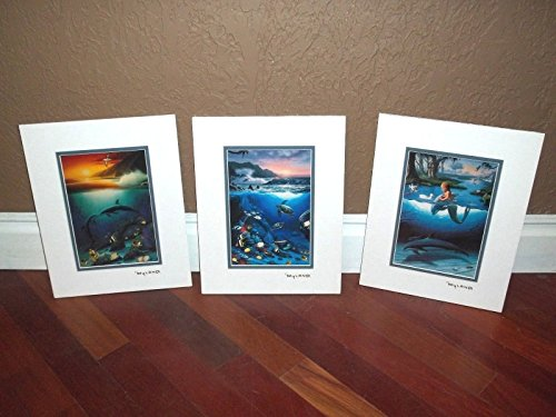 (By Wyland Double Matted With Gold Foil Stamp Mermaid, Dolphins And Turtle Set)