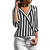Wintialy Women Ladies Striped Long Sleeve Irregular Work Office Blouse Top Tee Shirt