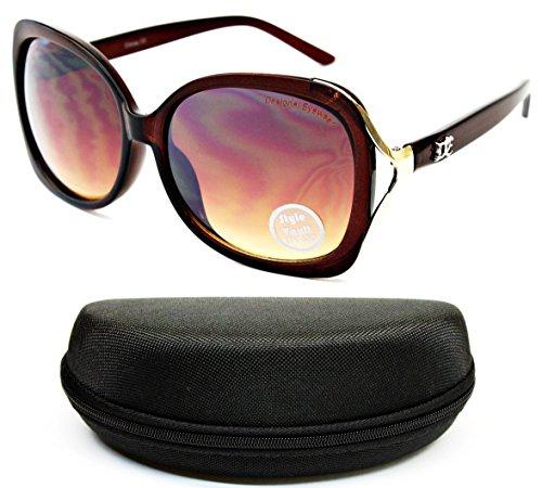 D959-cc Designer Eyewear Oversized Sunglasses (O3125B Crystal Brown/Gold-Brown Smoked, - Gold Logo Shield Brown And