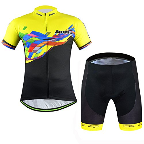 Suit 2016 Sports Outdoors Clothing Aogda Men's Cycling Short Sleeve Jersey + 3D Padded Shorts Set Mountain Ciclismo Shirts