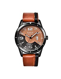 Mens Quartz Watches COOKI Clearance Unique Analog Cheap Watches on Sale Leather Wrist Watches for Men-A22 (Brown)