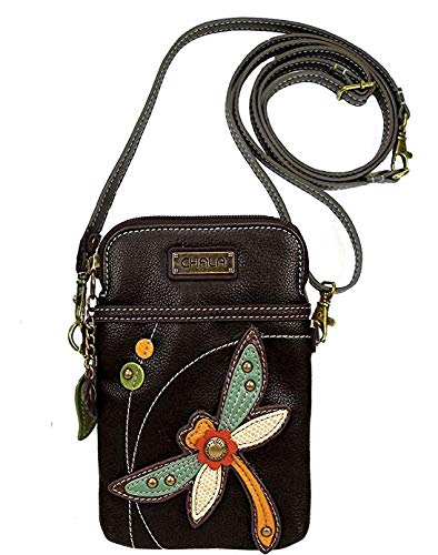 (Chala Crossbody Cell Phone Purse - Women PU Leather Multicolor Handbag with Adjustable Strap - Dragonfly - Black)