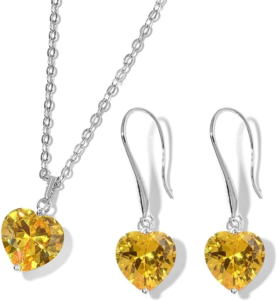 C02908 TJC 2 Piece Set Simulated Gemstone Heart Chain Pendant 18 /& Hook Earrings in Stainless Steel