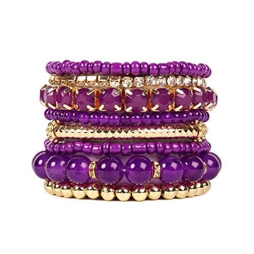 RIAH FASHION Multi Color Stretch Beaded Stackable Bracelets - Layering Bead Strand Statement Bangles ([S-M] Dark ()