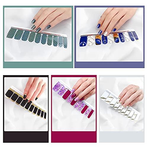 CINEEN Nagelfolien Beständig Nagelaufkleber Nagelfolie Selbstklebend art easy Nagellack zum aufkleben 10pcs DIY flash sticker+2pcs Nagelfeile set