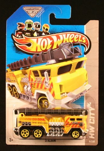 5 ALARM Hot Wheels 2013 Hw City Series Yellow 5 Alarm Fire Truck 1:64 Scale Collectible Die Cast Metal Toy Car Model -