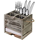 4 Compartment Torched Wood Kitchen Dining Utensil Organizer Caddy with Napkin Holder