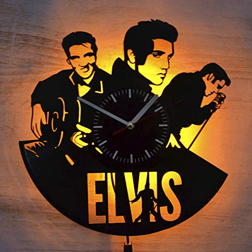 Elvis Presley Singer Rock and Roll Night Light Wall Lights Vinyl Record Wall Clock Amazing Room Decor Idea Home Interior Wall Design Gift for Him Music Lovers Birthday Gift Anniversary New House