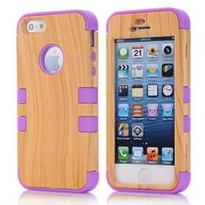 MOKOU Hard Wood+silicone Design Hybrid Case for Iphone 5 5s (purple)