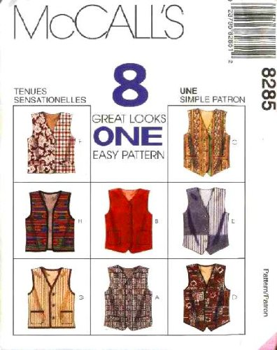 McCall's Sewing Pattern 8285 Men's Lined Vests 8 Styles, LG (Size 38, 40)