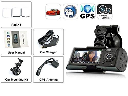 Indigi? HD Dual Driving Recorder 2.7 LCD Dash-Cam DVR GPS